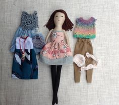 "Dress up doll, Handmade cloth doll, doll set, play set, soft doll, 13"" doll, rag…"