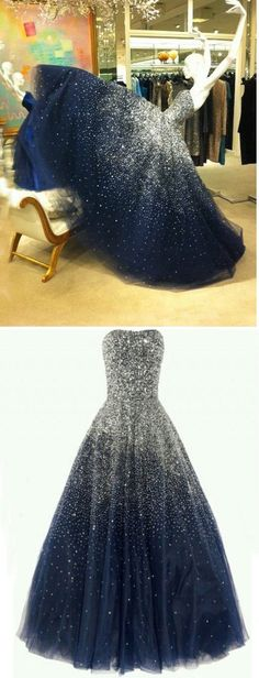 Navy Prom Dress,Ball Gown Prom Dress,Party Dress with Sequins,Floor Length Prom Dress,Zipper Back Prom Dress,Tulle Prom Dress,