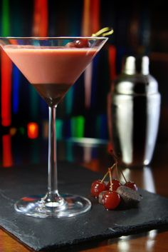Black Forest - the classic dessert transformed into a perfect after dinner cocktail. Brandy paired with Advocat, black cherry liqueur and a splash of chocolate.