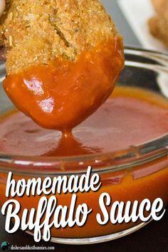 Homemade Buffalo Sauce from http://dishesanddustbunnies.com/