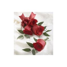 Red Rose Corsage Boutonniere Package picture.jpg ❤ liked on Polyvore featuring flowers