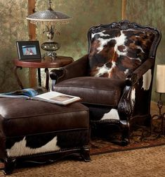 Beautifully carved wood frame accents this great hair-on cowhide chair and ottoman. Prop your feet up and enjoy true comfort in your home. Cowhide Furniture, Cowhide Chair, Log Cabin Furniture, Rustic Wood Furniture, Western Furniture, Living Room Furniture, Furniture Design, Western Living Rooms, Western Bedrooms