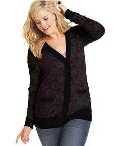 Belle Du Jour Plus Size Cardigan, Long-Sleeve Lace - Plus Size Tops - Plus Sizes - Macy's
