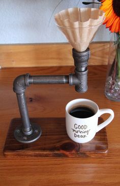 Industrial Pour Over // Coffee Maker // Reclaimed wood base // Industrial pipe…
