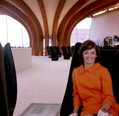 Hostess Hedy Glesinger on an original Featherstone Mark I Sound Chair in the Australian pavilion at Expo 1967 Montreal. Photo: National Archives of Australia Expo 67 Montreal, National Museum, Musée National, Futuristic Interior, Swinging London, Lounge, National Archives, Exhibition, World's Fair