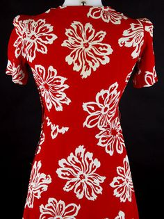 40s Red Rayon Puffy Sleeve Floral Swing Dress
