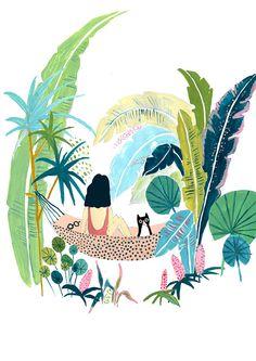Cat wallpaper pattern etsy 55 Ideas for 2019 Illustration Jungle, Plant Illustration, Art Inspo, Art Journal Inspiration, Art Tropical, Impressions Botaniques, Arte Alien, Jungle Art, Ouvrages D'art