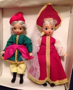2 VINTAGE PLASTIC RUSSIAN SOVIET DOLLS IN TRADITIONAL COSTUMES, In Box