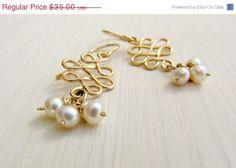 Holiday SALE Gold infinity earrings. Long gold earrings. by LirLir