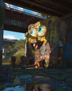 Fantasy Kunst, Fantasy Art, Art Sinistre, Urbane Kunst, Post Apocalyptic Art, Pop Culture Art, Creepy Art, Ancient Ruins, Abandoned Places