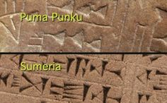 Comparación entre la escritura cuneiforme presente en la Fuente Magna (arriba) y…