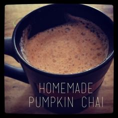 homemade pumpkin chai Ingredients  1/2 Cup Chai Concentrate (Could brew your own chai if you wanted!) 1/2 Cup Almond Milk 1 Tbs Pumpkin Puree Instructions  Mix Chai and Pumpkin together, heat up either by microwave for 1 minute or slowly on the stovetop Put Milk in a glass container with a lid. Shake it up (This mades it frothy!) Heat up milk for 30 seconds-1 minute. Mix all together and enjoy!