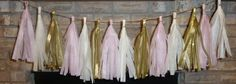 blush pink gold wedding tissue tassel by aprincesspractically