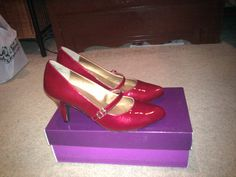 """""""Me Too"""" Shoes from DSW. They are a little darker than I wanted and they have gold in them but they are red, pretty and they fit :)"""