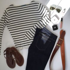 Navy and white stripes;devon sandals
