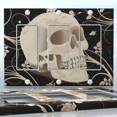 DIY Do It Yourself Home Decor - Easy to apply wall plate wraps | Vintage Smiling Skull  White, growling skull on flower background  wallplate skin sticker for 3 Gang Decora LightSwitch | On SALE now only $5.95