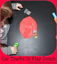 Play & Learn Everyday: Car Tracks in Play Dough Baby Room Activities, Outdoor Activities For Toddlers, Rainy Day Activities, Toddler Learning Activities, Play Based Learning, Indoor Activities, Infant Activities, Car Tracks For Kids, Reception Class