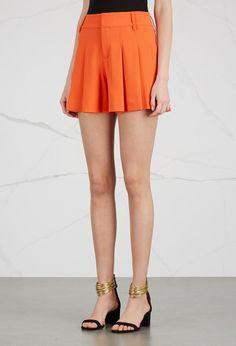 Harvey Nichols - Alice + Olivia Scarlet orange pleated crepe shorts