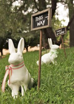 Which way to go?  O.K., children, just follow the signs for the Easter egg hunt Have fun!!
