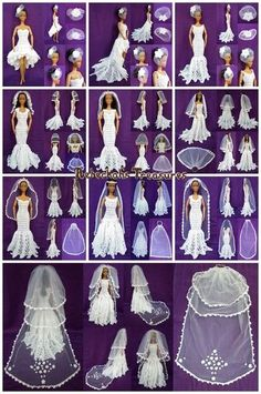 crocheted barbie doll clothes Part 3 - Wedding Accessories - Veils Crochet Pattern for Fashion Dolls Sewing Barbie Clothes, Barbie Sewing Patterns, Doll Dress Patterns, Clothing Patterns, Barbie Bridal, Barbie Wedding Dress, Barbie Dress, Barbie Doll, Doll Dresses