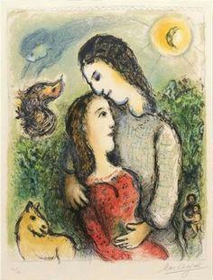 """Marc Chagall """"les adolescent"""" 1974 Uno de mis pintores favoritos, por su poesia y el uso de los azules, la linea negra, y los elementos flotantes... One of my favorite painters, for his poetry and the use of the blue, the black line, and elements floating ..."""