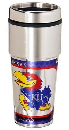 Kansas Jayhawks 16 ounce Travel Tumbler with Metallic Graphics #KansasJayhawks