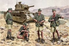 Afrika Korps Troops in front of British Matilda II. Ww2 Uniforms, German Uniforms, Military Uniforms, Military Art, Military History, Luftwaffe, Afrika Corps, North African Campaign, Matilda
