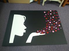 Put glasses on the Face for a   Valentine window display art. Made for @MaryAnn Meeks and her lovely store!