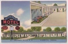 Warrenton Virginia Postcard Jefferson Motel 2 Views c1950s