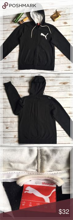 """Puma black full zip hoodie Worn only a couple of times, no fading on the black, no rips or tears or pulls. Great condition! Measurements are: length 24"""", sleeves 23.5"""", chest (pit to pit) 19"""", and shoulders 16"""". Puma Tops Sweatshirts & Hoodies"""