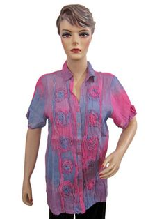 "Boho Tops Blouse Pink Blue Stripe Printed Cotton Shirt Ruffled Medium 42"" Bust   eBay $19.99"