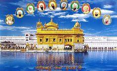 Golden Temple and Ten Sikh Gurus - Sikh Posters (Reprint on Paper - Unframed) Guru Harkrishan Ji, Guru Nanak Ji, Royal Blue Wallpaper, Golden Temple Wallpaper, Hd Wallpaper, Shiva Wallpaper, Happy Diwali Pictures, Guru Nanak Wallpaper, Harmandir Sahib