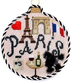 Travel Round Needlepoint Paris with Stitch Guide. Stitch your memories with this lovely small needlepoint project. Needlepoint Kits, Needlepoint Canvases, Christmas Sled, Christmas Cross, Christmas Ornaments, Nativity Ornaments, Hand Painted Canvas, Christmas Embroidery, Hanging Signs