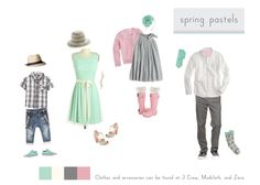 Spring Pastels, same intensity and family of colors.   Only one or two kids wear a simple pattern, rest of clothing - solid colors. Remember nice shoes with personality is a plus.