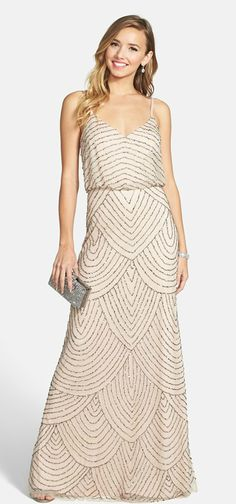 Beaded blouson gown by Adrianna Papell