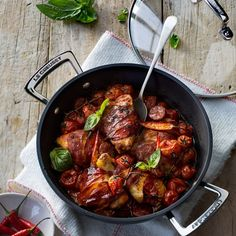 Chicken Wrapped in Parma Ham  with chorizo - Le Creuset Recipes