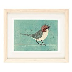 HOUSE SPARROW HAND-CARVED LINOCUT ILLUSTRATION ART PRINT BY ANNA SEE - annasee