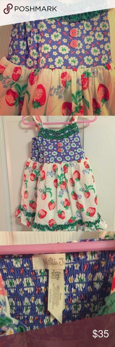 Matilda Jane dress with bloomers Strawberries!!! Worn and washed once. Pristine condition. I  offers and am motivated to sell!! Matilda Jane Dresses