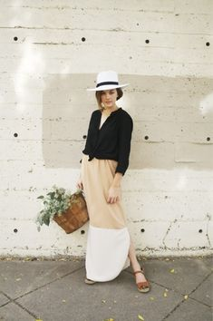 color block dress - black, nude and white