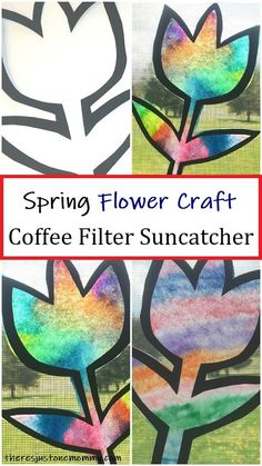 Coffee Filter Suncatcher for Spring Looking for a colorful spring craft for kids? This simple coffee filter suncatcher looks beautiful in the window. Kids of all ages will have fun with this flower craft. Coffee Filter Crafts, Coffee Filter Flowers, Coffee Crafts, Coffee Filter Projects, Coffee Filter Art, Spring Activities, Activities For Kids, Spring Crafts For Kids, Spring Crafts For Preschoolers