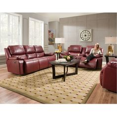Exceptionnel Montana Red Leather Reclining Sofa By Franklin Leather Reclining Sectional,  Power Recliners, Living Room