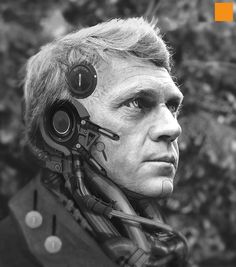 FIGHTPUNCH // the art of darren bartley - Cyborg Steve McQueen cyberpunk robot sci-fi science fiction