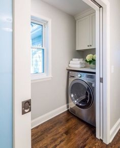 Small Laundry Room Design - Design photos, ideas and inspiration. Amazing gallery of interior design and decorating ideas of Small Laundry Room Design in laundry/mudrooms, kitchens by elite interior designers. Laundry Nook, Tiny Laundry Rooms, Laundry Room Doors, Laundry Room Cabinets, Laundry Closet, Laundry Room Organization, Laundry Room Design, Laundry In Bathroom, Organization Ideas