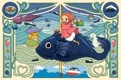Inspired by Art Nouveau style, I made this poster print of Ponyo.  This open edition print will be professionally printed on archival