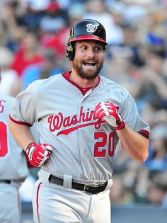 Daniel Murphy of the Washington Nationals celebrates after hitting a fourth inning solo home run against the Atlanta Braves at Turner Field during Opening Day on April 2016 in Atlanta, Georgia. Get premium, high resolution news photos at Getty Images Baseball Gear, Baseball Uniforms, Mlb Players, Baseball Players, Baseball Drawings, Daniel Murphy, Washington Nationals Baseball, Turner Field, Atlanta Braves