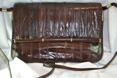 Vintage Chocolate Brown Eel Skin Handbag Shoulder Bag Envelope Style Wonderful Gift for Birthday or Anniversary