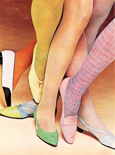 vintagefashionandbeauty:  Shoes and textured stockings in teen magazine Ingenue, March 1965. (♥)