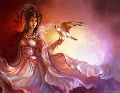 [by Olivi on deviantArt] - Circe (falcon)   A sorceress, the daughter of the sun god Helios and the sea nymph Perse. She lived on an island, where with potions and incantations, she was able to turn people into beasts. Her victims retained their reason, however, and knew what had happened to them. In the course of his wanderings, the Greek hero Odysseus visited her island with his companions, whom she turned into swine.