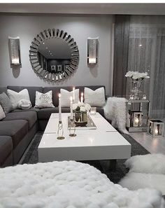 10 Comfortable and Cozy Living Rooms Ideas You Must Check! - Hoomble,Most comfortable and cozy living room ideas Creative Home Decor Ideas Decorating domiciles may appear to be a pla. Living Room Decor Cozy, Living Room Grey, Home Living Room, Apartment Living, Living Room Designs, Bedroom Decor, Living Room Decor Silver, Grey Living Room Furniture, Monochromatic Living Room