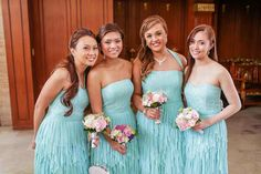 The bridesmaids looked dainty in aqua dresses that came in various lengths and necklines. <3 | www.BridalBook.ph Dresses by: Atelier Debbie Co